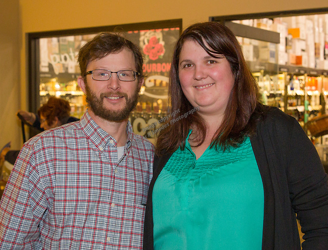 """Nate Byers and Alison Cerocke during the Reno Magazine """"Bubbles Tasting"""" event at Total Wine in Reno on Friday night, February 9, 2018."""