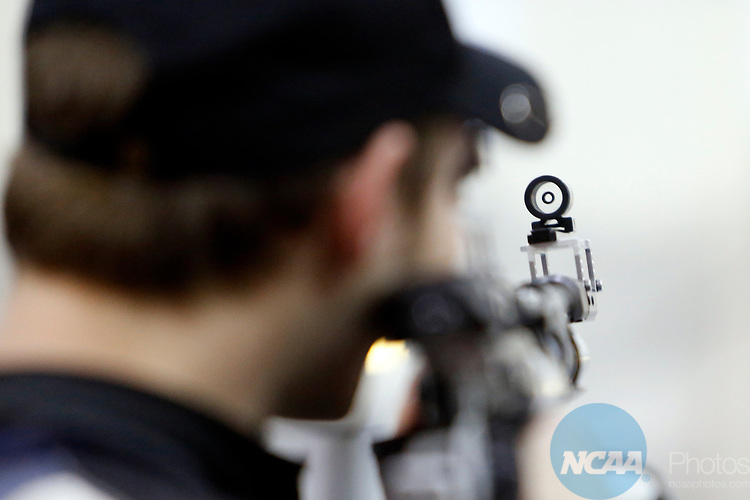 COLUMBUS, OH - MARCH 11:  Ben Estes, of Murray State University, competes during the Division I Rifle Championships held at The French Field House on the Ohio State University campus on March 11, 2017 in Columbus, Ohio. (Photo by Jay LaPrete/NCAA Photos via Getty Images)