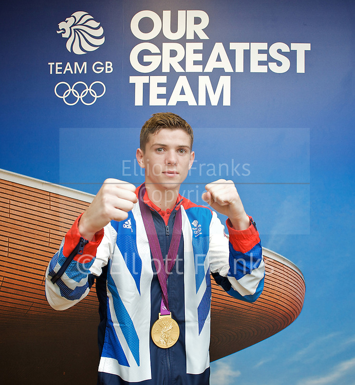 Olympic Games London 2012 <br /> Boxing Medalists' Press Conference at Team GB House, Stratford, London, Great Britain <br /> 13th August 2012 <br /> <br /> &quot;Britain's boxers finished top of the pile with five medals, three of them Gold plus a Silver and  Bronze&quot;.<br /> <br /> Gold Medalists <br /> <br /> Anthony Joshua <br /> (Super Heavy)<br /> <br /> Luke Campbell (Bantamweight) <br /> <br /> Nicola Adams (Flyweight) <br /> <br /> Fred Evans (Welterweight)<br /> Silver medal <br /> <br /> <br /> Anthony Ogogo <br /> Middleweight<br /> Bronze medal <br /> <br /> Photograph by Elliott Franks
