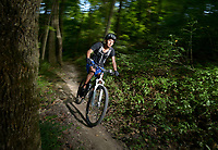 NWA Democrat-Gazette/BEN GOFF • @NWABENGOFF<br /> Alex Contreras of Rogers poses for photos on Friday Aug. 14, 2015 while riding the Urban Trail at the Slaughter Pen trail system in Bentonville.