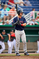 Lowell Spinners catcher Kole Cottam (39) at bat during game against the Batavia Muckdogs on July 14, 2018 at Dwyer Stadium in Batavia, New York.  Lowell defeated Batavia 8-4.  (Mike Janes/Four Seam Images)