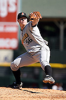 September 2 2008:  Pitcher John Meloan of the Buffalo Bisons, Class-AAA affiliate of the Cleveland Indians, during a game at Frontier Field in Rochester, NY.  Photo by:  Mike Janes/Four Seam Images