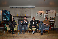 """NEW YORK - OCTOBER 30: (L-R) Executive Producer Rebecca Cammisa, Carlos Loret de Mola, Jack Hutton and moderator Brent Lang at a panel discussion during the reception for the screening of National Geographic Documentary Films """"Sea of Shadows"""" and """"Lost and Found"""" on October 30, 2019 in New York City. (Photo by Anthony Behar/National Geographic/PictureGroup)"""