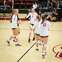 STANFORD, CA - November 4, 2018: Kathryn Plummer, Meghan McClure, Jenna Gray, Audriana Fitzmorris, Tami Alade, Morgan Hentz at Maples Pavilion. No. 2 Stanford Cardinal defeated the Utah Utes 3-0.