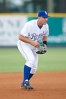 Third baseman Jason Morales (41) of the Burlington Royals on defense at Burlington Athletic Park in Burlington, NC, Wednesday, August 13, 2008. (Photo by Brian Westerholt / Four Seam Images)