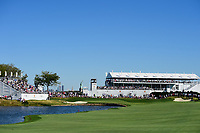 Hole #9 awaits the first match with the Statueof Liberty in the background during round 1 foursomes of the 2017 President's Cup, Liberty National Golf Club, Jersey City, New Jersey, USA. 9/28/2017.<br /> Picture: Golffile   Ken Murray<br /> ll photo usage must carry mandatory copyright credit (&copy; Golffile   Ken Murray)