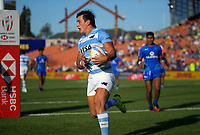 Luciano Gonzalo scores for Argentina in the pool match against Samoa. Day one of the 2020 HSBC World Sevens Series Hamilton at FMG Stadium in Hamilton, New Zealand on Saturday, 25 January 2020. Photo: Dave Lintott / lintottphoto.co.nz