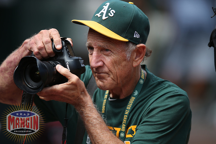 OAKLAND, CA - SEPTEMBER 6:  Oakland Athletics team photographer Michael Zagaris shoots pictures before the game against the Los Angeles Angels of Anaheim at the Oakland Coliseum on Wednesday, September 6, 2017 in Oakland, California. (Photo by Brad Mangin)