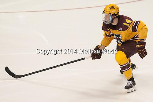 Tom Serratorre (MN - 14) - The University of Minnesota Golden Gophers defeated the University of North Dakota 2-1 on Thursday, April 10, 2014, at the Wells Fargo Center in Philadelphia to advance to the Frozen Four final.
