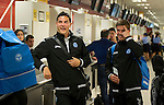 St Johnstone v Eskisehirspor....18.07.12  Uefa Cup Qualifyer.Gary Miller and Chris Millar at the check-in desk at Edinburgh Airport.Picture by Graeme Hart..Copyright Perthshire Picture Agency.Tel: 01738 623350  Mobile: 07990 594431