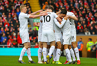 Burnley players celebrate taking the lead through an Ashley Westwood corner<br /> <br /> Photographer Alex Dodd/CameraSport<br /> <br /> The Premier League - Liverpool v Burnley - Sunday 10th March 2019 - Anfield - Liverpool<br /> <br /> World Copyright © 2019 CameraSport. All rights reserved. 43 Linden Ave. Countesthorpe. Leicester. England. LE8 5PG - Tel: +44 (0) 116 277 4147 - admin@camerasport.com - www.camerasport.com