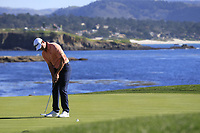 Patrick Cantlay (USA) putts on the 18th green at Pebble Beach course during Friday's Round 2 of the 2018 AT&amp;T Pebble Beach Pro-Am, held over 3 courses Pebble Beach, Spyglass Hill and Monterey, California, USA. 9th February 2018.<br /> Picture: Eoin Clarke | Golffile<br /> <br /> <br /> All photos usage must carry mandatory copyright credit (&copy; Golffile | Eoin Clarke)