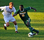 22 September 2008: University of Vermont Catamounts' backfielder Yannick Lewis, a Freshman from Toronto, Ontario, in action against the Colgate University Raiders at Centennial Field, in Burlington, Vermont. The Raiders edged out the Catamounts 2-1, handing the Soccer Catamounts their first home loss of the 2008 season. ..Mandatory Photo Credit: Ed Wolfstein Photo