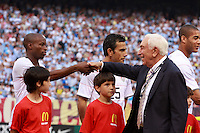 Senator Frank Lautenberg of New Jersey shakes hands with United States midfielder DaMarcus Beasley (17). The men's national teams of the United States and Argentina played to a 0-0 tie during an international friendly at Giants Stadium in East Rutherford, NJ, on June 8, 2008.