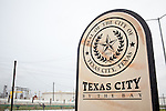 A Texas City 'Welcome' sign is displayed on a public road near the Texas City BP refinery. Taking up nearly two square miles, the refinery is one of the largest in the United States and is the largest employer in Texas City.  The plant has had numerous environmental and safety problems.