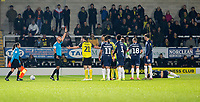 3rd December 2019; Pirelli Stadium, Burton Upon Trent, Staffordshire, England; English League One Football, Burton Albion versus Southend United; John-Joe O'Toole of Burton Albion receives a red card from Referee Darren Drysdale after a foul on Tom Hopper of Southend United  - Strictly Editorial Use Only. No use with unauthorized audio, video, data, fixture lists, club/league logos or 'live' services. Online in-match use limited to 120 images, no video emulation. No use in betting, games or single club/league/player publications