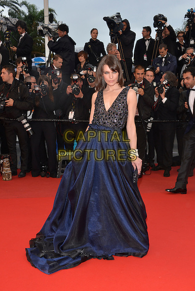 Milla Jovovich.'All is Lost' premiere at 66th Cannes Film Festival, France..22nd May 2013.full length blue black dress skirt top embellished jewel encrusted .CAP/PL.©Phil Loftus/Capital Pictures.