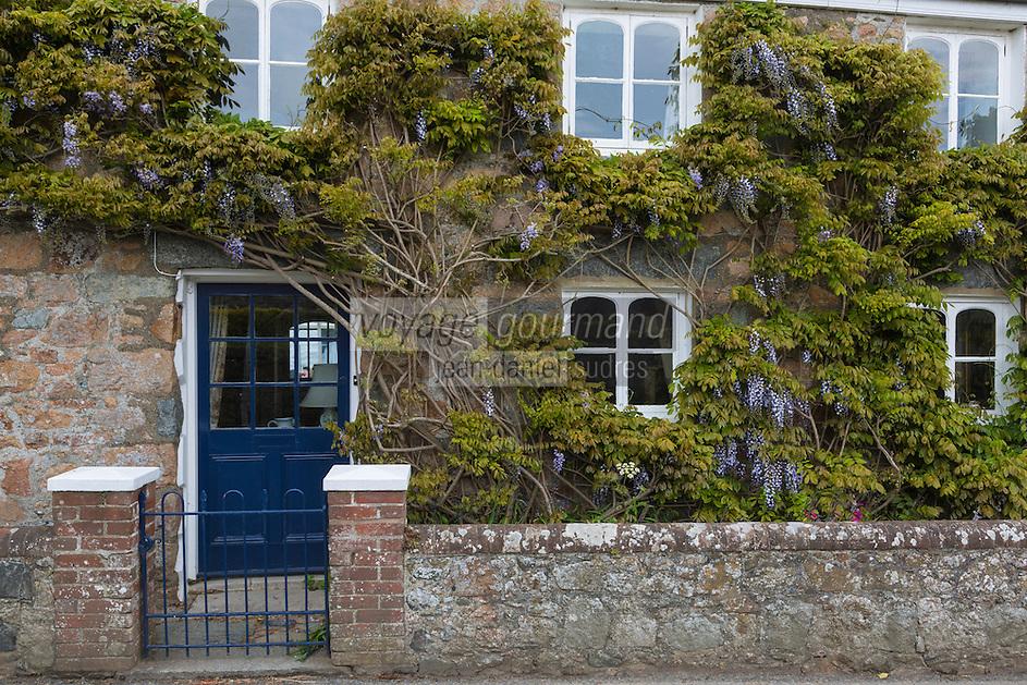 Royaume-Uni, îles Anglo-Normandes, île de Guernesey, Saint Andrew: Maison et jardin aux env de Les Prévost// United Kingdom, Channel Islands, Guernsey island, Saint Andrew: