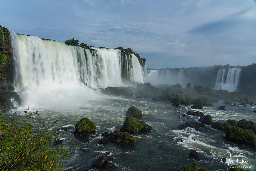Iguazu Falls National Park in Argentina at right with Brazil at left.  A UNESCO World Heritage Site.  Pictured is the Santa Maria Waterfall at left with the Devil's Throat or Garganta del Diablo, center, and Salto Mitre at right.