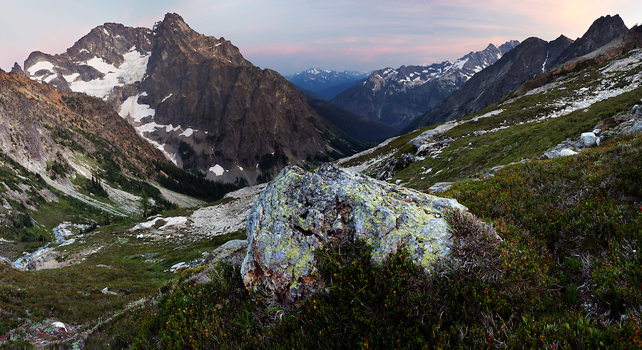 Black Peak and Grizzly Creek Valley from Fisher Lakes, North Cascades National Park, Skagit County, Washington, USA