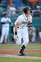 Sam Huff (28) of the Down East Wood Ducks hustles down the first base line against the Winston-Salem Dash at Grainger Stadium Field on May 17, 2019 in Kinston, North Carolina. The Dash defeated the Wood Ducks 8-2. (Brian Westerholt/Four Seam Images)