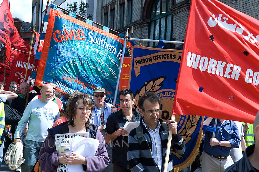 Trade Unionists hold their annual Mayday Parade in London. Representatives of the major Trade Unions and Kurdish groups were in attendence.