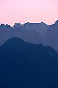 Dawn over the Austrian Alps.  Nordtirol, Tirol, Austria, June.