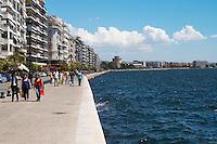 The waterfront. Walking along the seafront. Thessaloniki, Macedonia, Greece