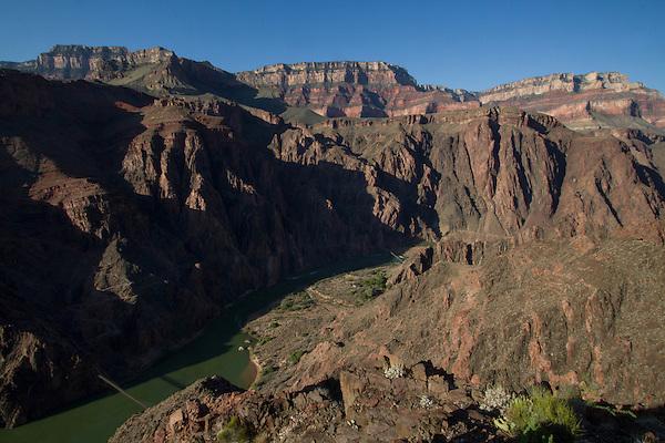 Phantom Ranch and the Black Bridge, Colorado River in Grand Canyon National Park, Arizona .  John offers private photo tours in Grand Canyon National Park and throughout Arizona, Utah and Colorado. Year-round.