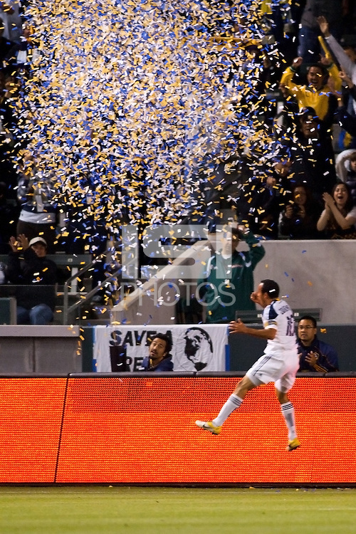 LA Galaxy midfielder Landon Donovan (10) celebrates his second goal of the game. The LA Galaxy defeated the Portland Timbers 3-0 at Home Depot Center stadium in Carson, California on  April  23, 2011....