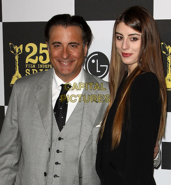 ANDREW GARCIA & ALESSANDRA GARCIA .25th Annual Film Independent Spirit Awards held At The Nokia LA Live, Los Angeles, California, USA,.March 5th, 2010 ..arrivals Indie Spirit half length father dad daughter family grey gray suit tie black waistcoat smiling .CAP/ADM/KB.©Kevan Brooks/Admedia/Capital Pictures
