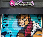 Bizzy B fairytale costume by day superhero by night Queen Love mural by artist phobixgod beautify hollywood, photo taken with my iphone7 plus during one of my many photo walk about's, hollywood blvd. Los Angeles California November 26, 2016. ©Fitzroy Barrett