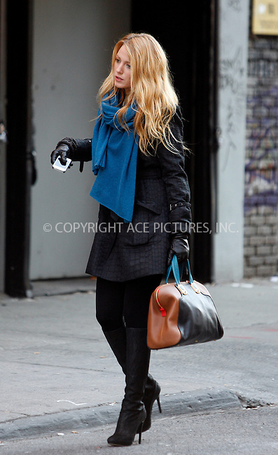 WWW.ACEPIXS.COM . . . . .  ....December 14 2011, New York City....Actress Blake Lively on the Lower East Side set of the TV show Gossip Girl on December 14 2011 in New York City....Please byline: CURTIS MEANS - ACE PICTURES.... *** ***..Ace Pictures, Inc:  ..Philip Vaughan (212) 243-8787 or (646) 679 0430..e-mail: info@acepixs.com..web: http://www.acepixs.com