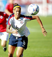 Natasha Kai chases after the ball. USA 4,  Norway 0, Fredrikstad Stadium, July 2, 2008.