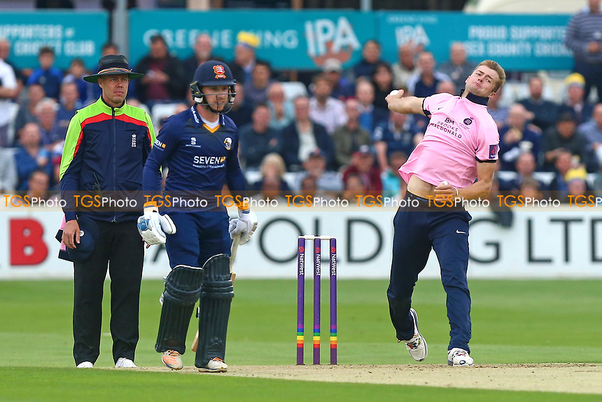 Tom Helm in bowling action for Middlesex during Essex Eagles vs Middlesex, NatWest T20 Blast Cricket at The Cloudfm County Ground on 11th August 2017