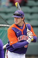 Right fielder Steven Duggar (9) of the Clemson Tigers prior to the Reedy River Rivalry game against the South Carolina Gamecocks on Saturday, February 28, 2015, at Fluor Field at the West End in Greenville, South Carolina. South Carolina won, 4-1. (Tom Priddy/Four Seam Images)