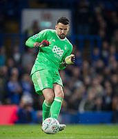 Goalkeeper Stephen Henderson of Notthingham Forest during the Carabao Cup (Football League cup) 23rd round match between Chelsea and Nottingham Forest at Stamford Bridge, London, England on 20 September 2017. Photo by Andy Rowland.