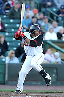 Rochester Red Wings catcher Rene Rivera #13 at bat during a game against the Scranton Wilkes-Barre Yankees at Frontier Field on April 9, 2011 in Rochester, New York.  Rochester defeated Scranton 7-6 in twelve innings.  Photo By Mike Janes/Four Seam Images
