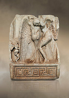 Roman Sebasteion relief  sculpture of Leda and swan, Aphrodisias Museum, Aphrodisias, Turkey.  Against an art background.<br /> <br /> Zeus disguised as a swan assaults Spartan princess Leda. The bird stands on the tips of its outspread wings and presses its webbed foot on the thigh of modest, struggling Leda. The swan is supported from behind a small Eros. From this encounter came a large egg from which were born Helen and the Dionskouroi twins, Kastor and Polydeukes