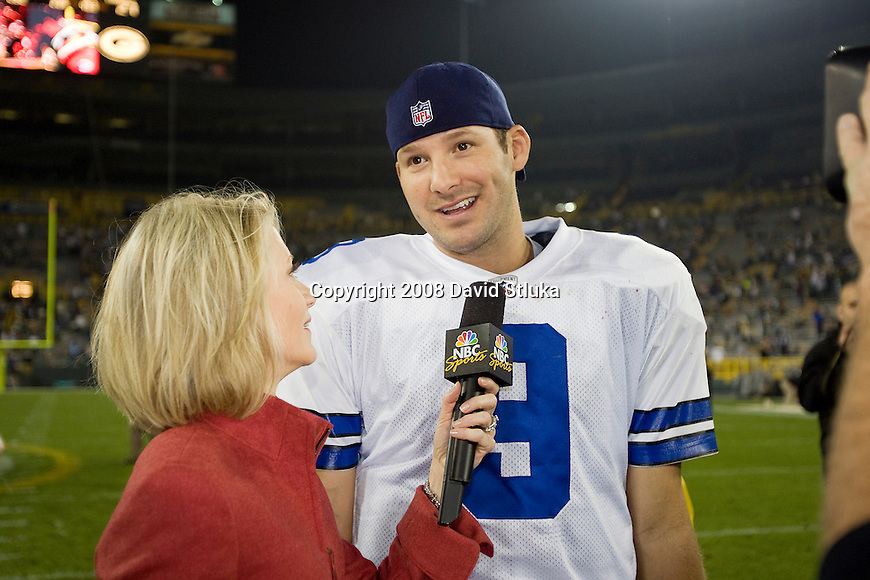 GREEN BAY, WI - SEPTEMBER 21: NBC reporter Andrea Kramer interview quarterback Tony Romo #9 of the Dallas Cowboys after the game against the Green Bay Packers at Lambeau Field on September 21, 2008 in Green Bay, Wisconsin. The Cowboys beat the Packers 27-16. (Photo by David Stluka)