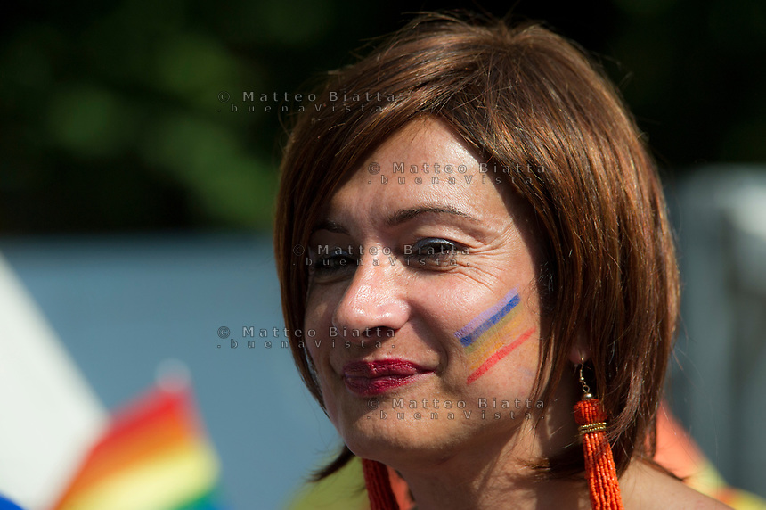 Gay pride Brescia nella foto Vladimir Luxuria cronaca Brescia 17/06/2017 foto Matteo Biatta<br /> <br /> Gay pride Brescia in the picture Vladimir Luxuria chronicle Brescia 17/06/2017 photo by Matteo Biatta