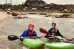 April 30, 2012. Charlotte, NC.. After making it throughout he M Wave rapid, Erik Weihenmayer, left, takes break with his guide Rob Raker.. Erik Weihenmayer, who has been completely blind since age 13, is training at the United States National White Water Center in an attempt to kayak through the Grand Canyon. Weihenmayer is an accomplished outdoorsman who has climbed the 7 Summits, and is the only blind person to climb Mount Everest.