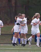 Boston College defender Hannah Cerrone (11) celebrates Boston College forward Stephanie Wirth's (22) goal. Boston College defeated Hofstra University, 3-1, in second round NCAA tournament match at Newton Soccer Field, Newton, MA.