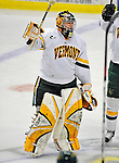 19 January 2008: University of Vermont Catamounts' goaltender Joe Fallon, a Senior from Bemidji, MN, satules the fans after a win against the Northeastern University Huskies at Gutterson Fieldhouse in Burlington, Vermont. The Catamounts defeated the Huskies 5-2 to close out their 2-game weekend series...Mandatory Photo Credit: Ed Wolfstein Photo