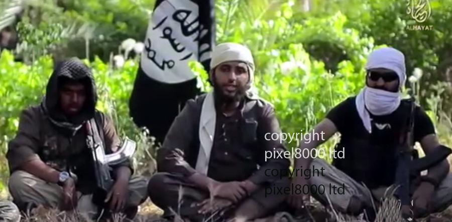 Pic shows:  Reyaad Khan and  Ruhul Amin in  ISIS recruitment video<br /> <br /> Ruhul Amin alias Abdul Rakib Amin or Abu Bara Al Hindi from Scotland SIS fighter who has been killed by a British RAF drone strike in Syria <br /> <br /> <br /> <br /> <br /> <br /> <br /> <br /> <br /> Picture by Pixel8000 07917221968