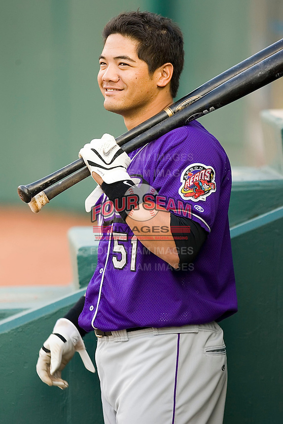 Bronson Sardinha (51) of the Akron Aeros waits for his turn to bat in the visitors dugout at Prince Georges Stadium in Bowie, MD, Tuesday June 17, 2008.