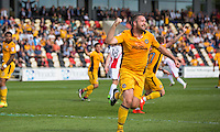Jonathan Parkin of Newport County celebrates scoring his side's first goal during the Sky Bet League 2 match between Newport County and Cheltenham Town at Rodney Parade, Newport, Wales on 10 September 2016. Photo by Mark  Hawkins / PRiME Media Images.
