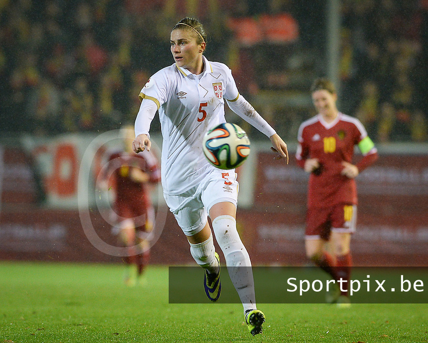 20151130 - LEUVEN ,  BELGIUM : Serbian Nikoleta Nikolic pictured during the female soccer game between the Belgian Red Flames and Serbia , the third game in the qualification for the European Championship in The Netherlands 2017  , Monday 30 November 2015 at Stadion Den Dreef  in Leuven , Belgium. PHOTO DAVID CATRY