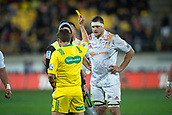 9th June 2017, Westpac Stadium, Wellington, New Zealand; Super Rugby; Hurricanes versus Chiefs;  Chiefs' Michael Allardice given an yellow card