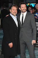 Russell Crowe and Hugh Jackman arriving for the UK Premiere or Noah, at Odeon Leicester Square, London. 31/03/2014 Picture by: Alexandra Glen / Featureflash